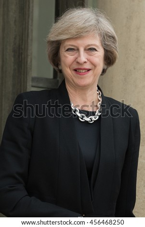 Paris, FRANCE - JULY 21, 2016 : The Prime Minister of United Kingdom Theresa May arriving at the Elysee Palace at Paris for a work visit.