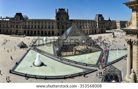 PARIS, FRANCE - JULY 17, 2010: View of pyramid and fountain at courtyard of Louvre Museum. Louvre Museum is one of the largest and most visited museums worldwide. - stock photo