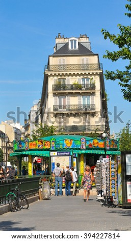 Paris, France - July 10, 2015: View of typical street in the Marais district of Paris, France
