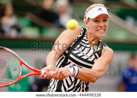 PARIS, FRANCE - JUN, 24, 2016: Germanys Angelique Kerber during the French Open 2016 where she lost already in the first round against dutch woman Kiki Bertens.