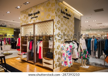 PARIS, FRANCE - JUN 6, 2015: Kate Spade New York section in the Galeries Lafayette city mall. It was open in 1912 - stock photo