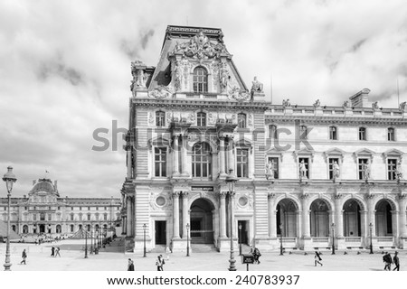 PARIS, FRANCE - JUN 17, 2014: Louvre Museum, one of the largest museums in the world. It has more than 35000 objects and it's one of the most visited places in Paris, France