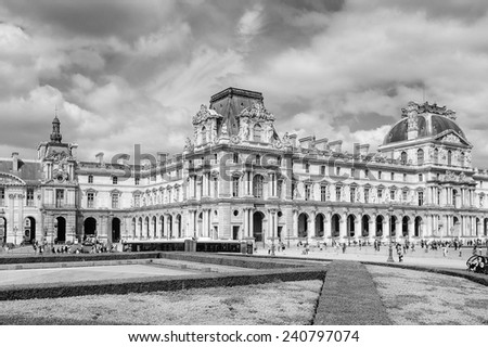 PARIS, FRANCE - JUN 17, 2014: Louvre Museum, one of the largest museums in the world. It has more than 35000 objects and it's one of the most visited places in Paris, France - stock photo