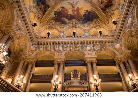 PARIS, FRANCE - JUN 6, 2015: Palais Garnier (Opera Garnier) in Paris, France. It was originally called the Salle des Capucines