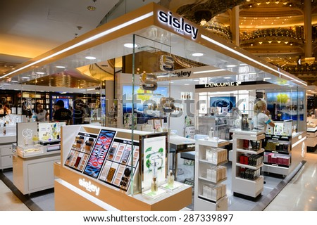 PARIS, FRANCE - JUN 6, 2015: Sisley Paris section in Galeries Lafayette city mall. It was open in 1912