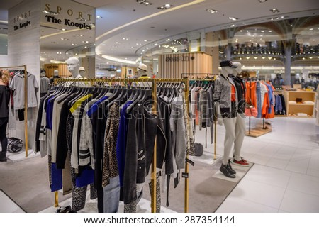 PARIS, FRANCE - JUN 6, 2015: Sport the Kooples in the Galeries Lafayette city mall. It was open in 1912 - stock photo