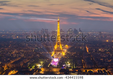 Paris, France - June 6, 2016: Aerial view of One-off concert by David Guetta on the Champ de Mars, in front of Eiffel tower, pre UEFA European Championchip event in Paris, France on June 9th 2016. - stock photo