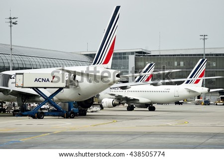 PARIS, FRANCE - JUNE 11: Air France airplanes are seen on Charles de Gaulle International Airport on June 11, 2016 in Paris. Air France announced a pilot strike between 11 and 14 of June. - stock photo