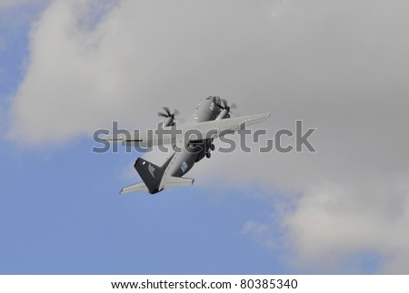PARIS, FRANCE - JUNE 24: An Alenia C-27C Spartan aircraft performs an exhibition flight during the International Paris Air Show on June 24, 2011 at Le Bourget Airport in Paris, France.