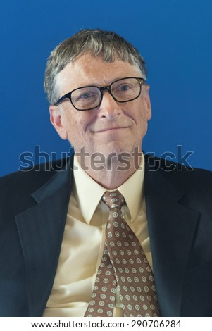 PARIS, FRANCE - JUNE 25, 2015 : Bill Gates during the signing of a partnership vaccination in the Sahel with France at french Ministry of Foreign affair. - stock photo