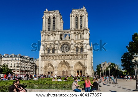 PARIS, FRANCE - JUNE 6, 2015: Cathedral Notre Dame de Paris. Cathedral Notre Dame de Paris - most famous Gothic, Roman Catholic cathedral (1163-1345) on eastern half of Cite Island. France, Europe.