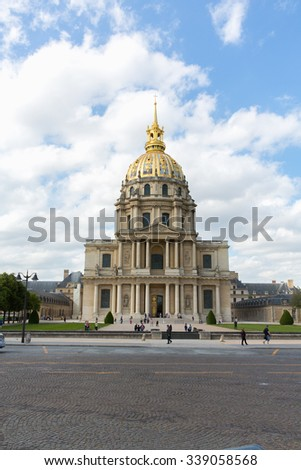 PARIS, FRANCE -JUNE 2: Chapel of Saint Louis des Invalides on June 2, 2015 in Paris. Chapel built in 1679 is the burial site for some of France's war heroes, notably Napoleon Bonapart. - stock photo