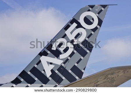 PARIS, FRANCE -20 JUNE 2015- Details of the A 350, the newest airplane from Airbus, on display at the 2015 Salon du Bourget airshow in Paris.