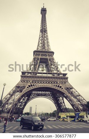 PARIS, FRANCE - JUNE 3: Eiffel Tower is the most visited monument in France and the most famous symbol of Paris, June 3, 2015, process color