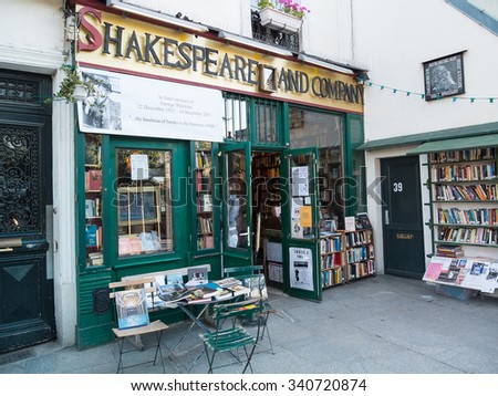Paris, France-June 23,2012: Famous Shakespeare and Company bookstore (specializing in English-language literature) was founded in Paris's Left Bank by American George Whitman in 1951. - stock photo