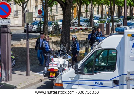PARIS, FRANCE - JUNE  1, 2015 :  French police blocked street to control emergency in the streest of Paris