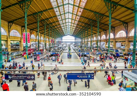 PARIS, FRANCE - JUNE 1, 2015: Gare du Nord station in Paris, with national and international destinations, it is the busiest railway station in Europe - stock photo