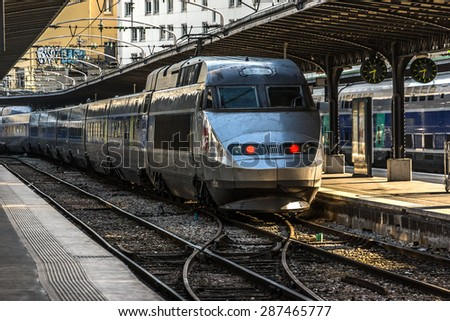 PARIS, FRANCE - JUNE 4, 2015: Interior of Gare de Paris-Est train station. (Gare de l'Est, Eastern railway station) It is one of largest and oldest railway stations in Paris, was opened in 1849.