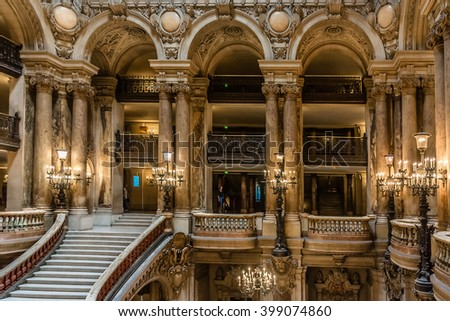 PARIS, FRANCE - JUNE 11, 2015: Interior of Opera National de Paris. Grand Opera (Garnier Palace or Salle des Capucines, 1875) - famous neo-baroque building - UNESCO World Heritage Site. - stock photo