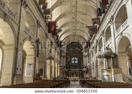 PARIS, FRANCE - JUNE 11, 2015: Interiors of Chapel of Saint Louis des Invalides in Paris. Chapel built in 1679 is the burial site for some of France's war heroes, notably Napoleon Bonapart. - stock photo