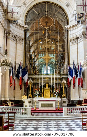 PARIS, FRANCE - JUNE 11, 2015: Interiors of Chapel of Saint Louis des Invalides in Paris. Chapel built in 1679 is the burial site for some of France's war heroes, notably Napoleon Bonapart.
