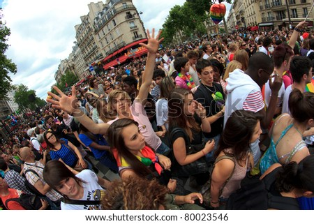 PARIS, FRANCE - JUNE 25.  People took part in the Paris Gay Pride parade to support the LGBT's(lesbian, gay, bisexual, and transgender) rights, on June 25, 2011 in Paris, France.