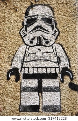 PARIS, FRANCE -16 JUNE 2015- Star Wars storm trooper graffiti street art in the French capital. Paris has become one of the European centers for street art. - stock photo