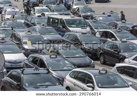 PARIS, FRANCE - JUNE  25, 2015 : Taxi block Porte Maillot to protest against the service Ubber Pop.
