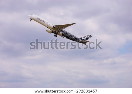 PARIS, FRANCE -20 JUNE 2015- The A350, the newest airplane from Airbus, does a demonstration flight at the 2015 Salon du Bourget airshow in Paris.