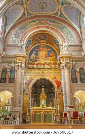 PARIS, FRANCE - JUNE 18, 2011: The presbytery of sanit Francis Xavier church.