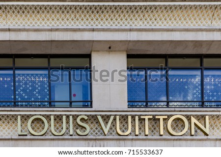 PARIS, FRANCE - JUNE 16, 2017: View at Louis Vuitton shop in Paris, France. Louis Vuitton is a French fashion house founded in 1854 and one of the world's leading international fashion houses.