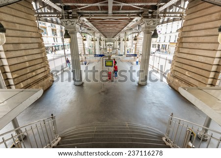 PARIS, FRANCE - June 13, 2014: View of Paris metro station under the bridge.