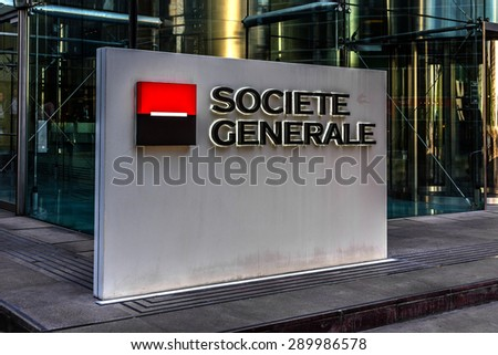 PARIS, FRANCE - JUNE 8, 2015: View of Societe Generale headquarter (SG) in La Defense district, Paris. Societe Generale is a French multinational banking and financial services company.