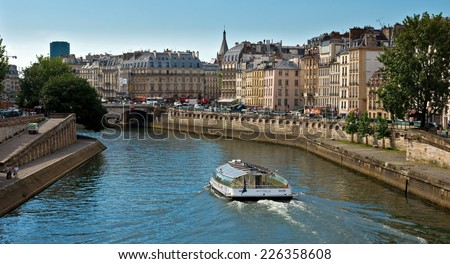 PARIS, FRANCE - JUNE 9, 2014: View of the Seine River and landmarks of Paris.  - stock photo