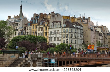 PARIS, FRANCE - JUNE 9, 2014: View of the typical french architecture.  - stock photo