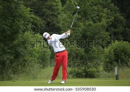 PARIS, FRANCE - JUNE 18: Xavier Poncelet (FRA) competes at The French Open qualification on June, 18, 2012, at  The Courson golf course, Paris, France.
