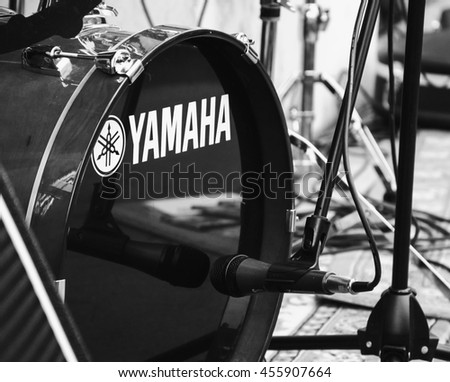 PARIS, FRANCE - JUNE 21, 2014: Yamaha drums at outdoor free concert during celebration of World Music Day in Latin Quarter in Paris. This festival encourages musicians to perform in the streets.