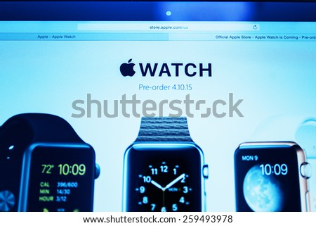 PARIS, FRANCE - MAR 10, 2015: Apple Computers website on MacBook Retina in room environment showcasing Apple Watch Preorder as seen on 10 March, 2015 - stock photo