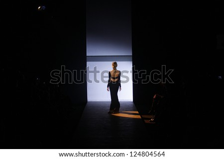PARIS, FRANCE - MARCH 01: A model walks the runway during the Hakaan Ready to Wear Autumn/Winter 2011/2012 show during Paris Fashion Week at Les Beaux-Arts de Paris on March 1, 2011 in Paris, France.