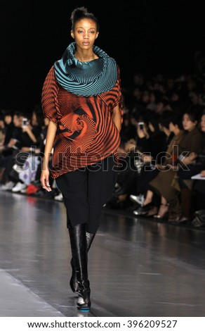 PARIS, FRANCE - MARCH 04: A model walks the runway during the Issey Miyake show as part of the Paris Fashion Week Womenswear Fall/Winter 2016/2017 on March 4, 2016 in Paris, France.