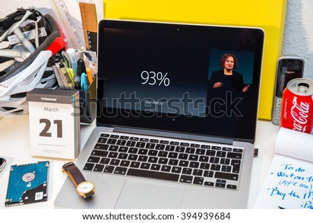 PARIS, FRANCE - MARCH 21, 2016: Apple Computers website on MacBook Pro Retina in a creative room environment showcasing Apple Event with Lisa Jackson - stock photo