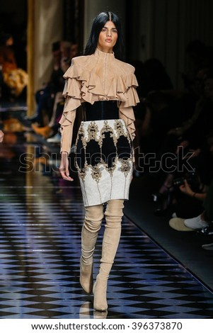 PARIS, FRANCE - MARCH 03: Bhumika Arora walks the runway during the Balmain show as part of the Paris Fashion Week Womenswear Fall/Winter 2016/2017 on March 3, 2016 in Paris, France.