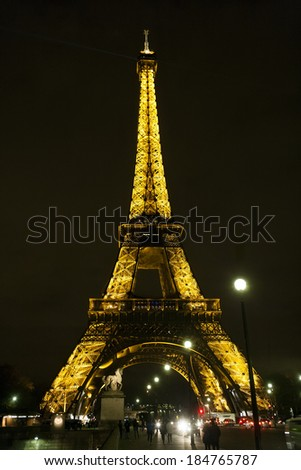 PARIS,FRANCE - MARCH 15, 2010: Eiffel tower at night . Night in Paris with Eiffel tower, most visited monument of France with 200.000.000 visit