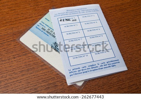 PARIS - France - 22 March 2015 - french electoral card after on wooden background