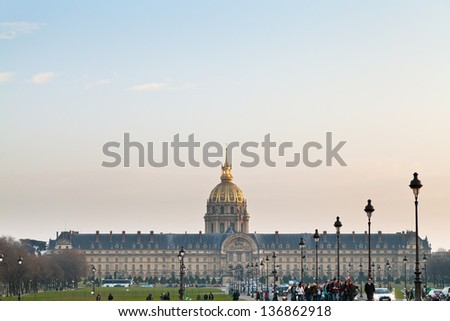 PARIS, FRANCE - MARCH 4: Hotel des Invalides. Louis XIV initiated the project by an order dated 24 November 1670, as a home and hospital for aged and unwell soldiers in Paris, France on March 4, 2013