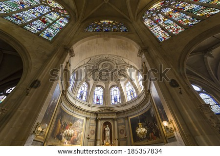 PARIS, FRANCE � MARCH  13, 2014: Interiors and architectural details of Saint Etienne du Mont church, March 13, 2014, near the Pantheon  in  Paris, France.