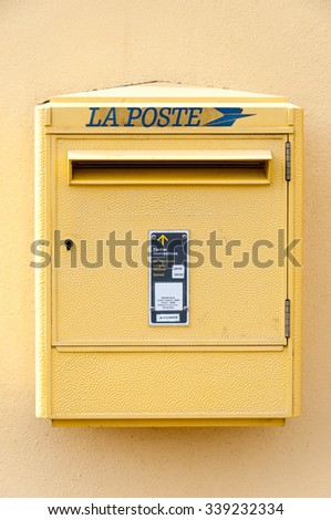 PARIS, FRANCE - MARCH 7: La Poste postbox on March 7, 2012 in Paris, France.