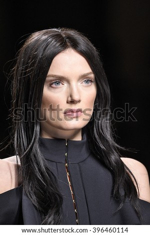 PARIS, FRANCE - MARCH 03: Lily Donaldson walks the runway during the Balmain show as part of the Paris Fashion Week Womenswear Fall/Winter 2016/2017 on March 3, 2016 in Paris, France.
