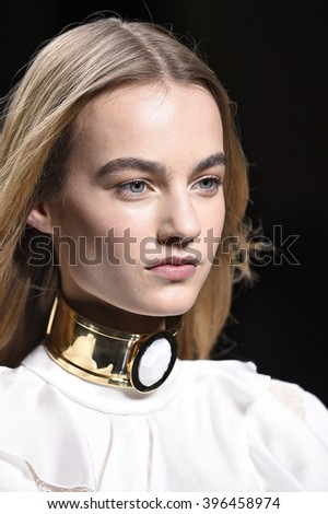 PARIS, FRANCE - MARCH 03: Maartje Verhoef walks the runway during the Balmain show as part of the Paris Fashion Week Womenswear Fall/Winter 2016/2017 on March 3, 2016 in Paris, France.