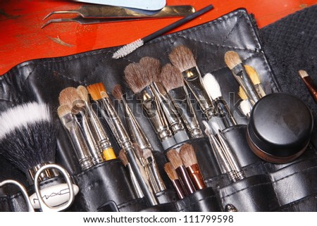 PARIS, FRANCE - MARCH 03: Make-up brushes backstage before the Barbara Bui Ready to Wear Autumn/Winter 2011/2012 show during Paris Fashion Week at Pavillon Concorde on March 3, 2011 in Paris, France. - stock photo